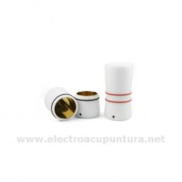Electrodo recipiente de entrada y salida